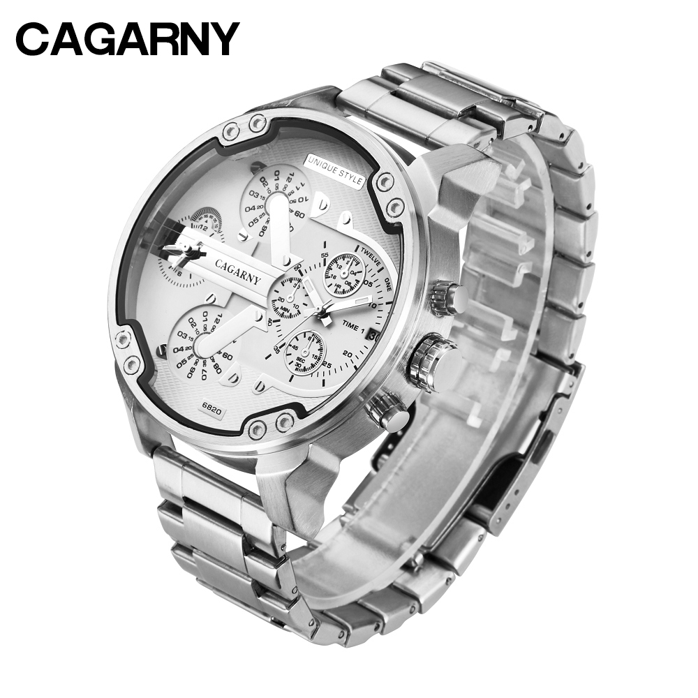 cagarny mens watches quartz watch men dual time zones big case dz military style 7331 7333 7313 7314 7311 steel band watches free shipping (8)