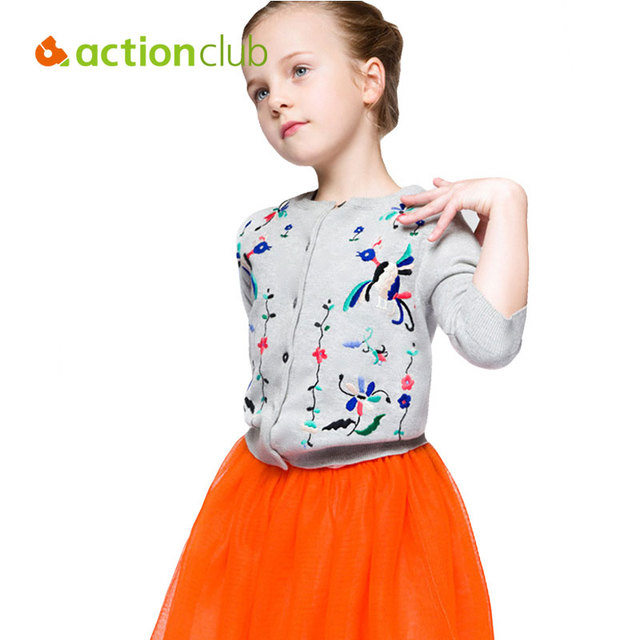 2016 New Baby Girls Cardigan Sweater Print Flower Clothing Kids European Style Fashion Shirts For Girls Sweater Clothing KU1028