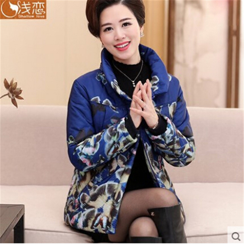 Floral Women Winter Parka Stand Collar Female Jackets And Coats Plus Size Fashion Long Sleeve Parka Coats Wt1222