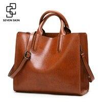SEVEN SKIN Brand Women Oil Wax Leather Shoulder Bags Vintage Designer Handbags Female Big Tote Bag