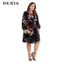 DEXIA Beach Sashes Flower Printed Casual Women Dress Full Sleevel Plus Size 3XL Women Party Vadim Floral Zipper Jurk FX180003