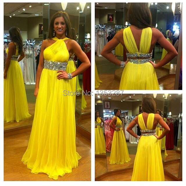 Yellow   Prom     Dress   2015 Charming and Elegant Women for Special Party Occasion A-Line Beads and Sequins Evening Gowns