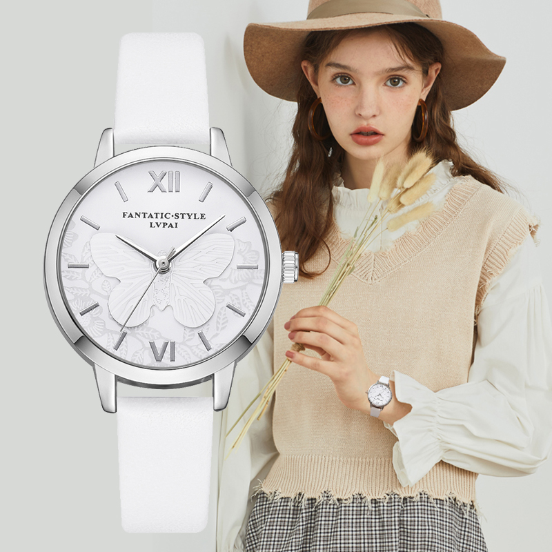 Lvpai Brand 2018 New Butterfly 3D Girl Dress Watches Silver Women Ladies Fashion White Colck Wristwatch