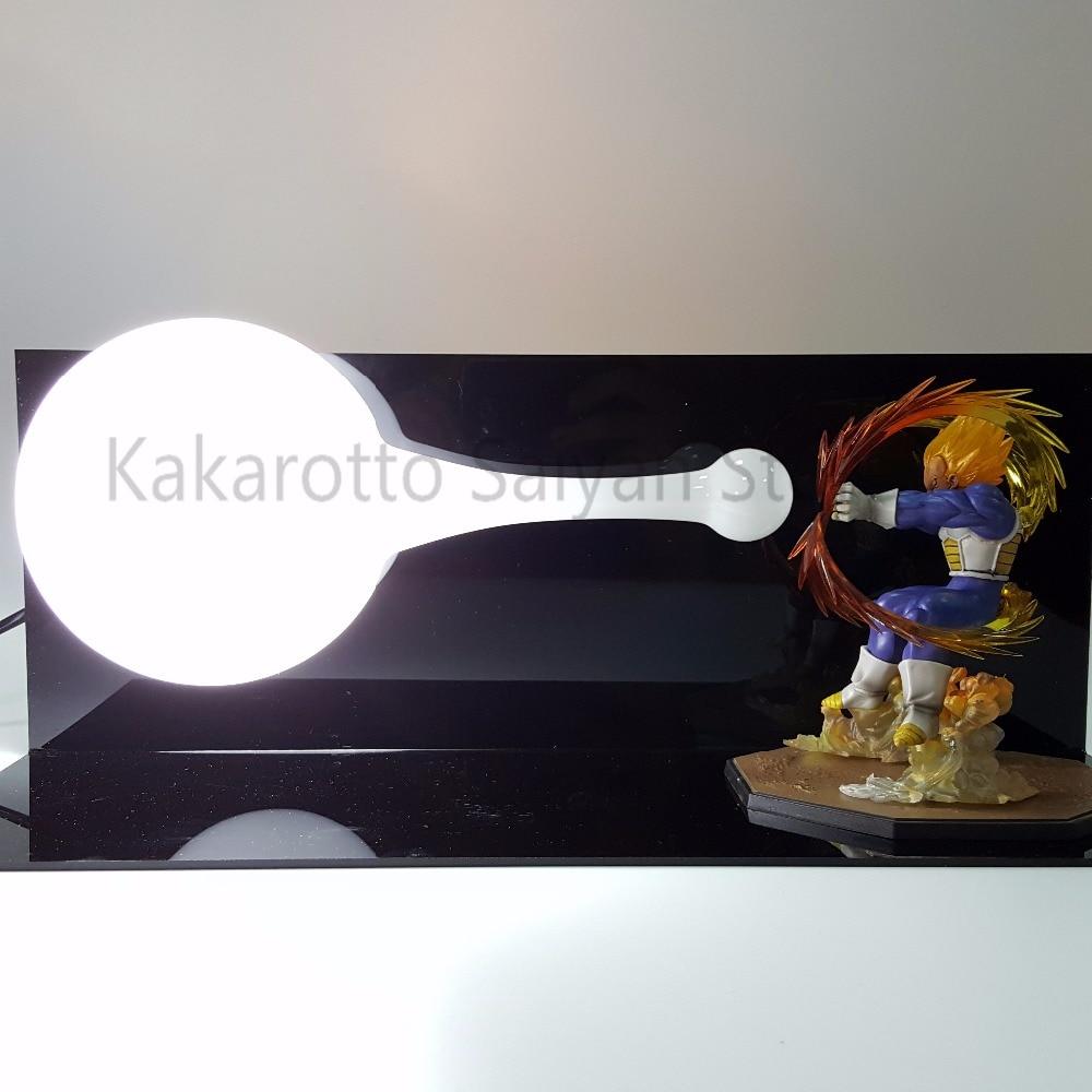 ドラゴンボールZアクションフィギュアベジータスーパーサイヤ人DIYカメハメハアニメドラゴンボールGTフィギュアグッズモデル玩具DBZ +電球+ベース