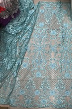 Aqua blue/handmade heavy beaded lace fabric, 48 inches wide, 5 yards DYS59