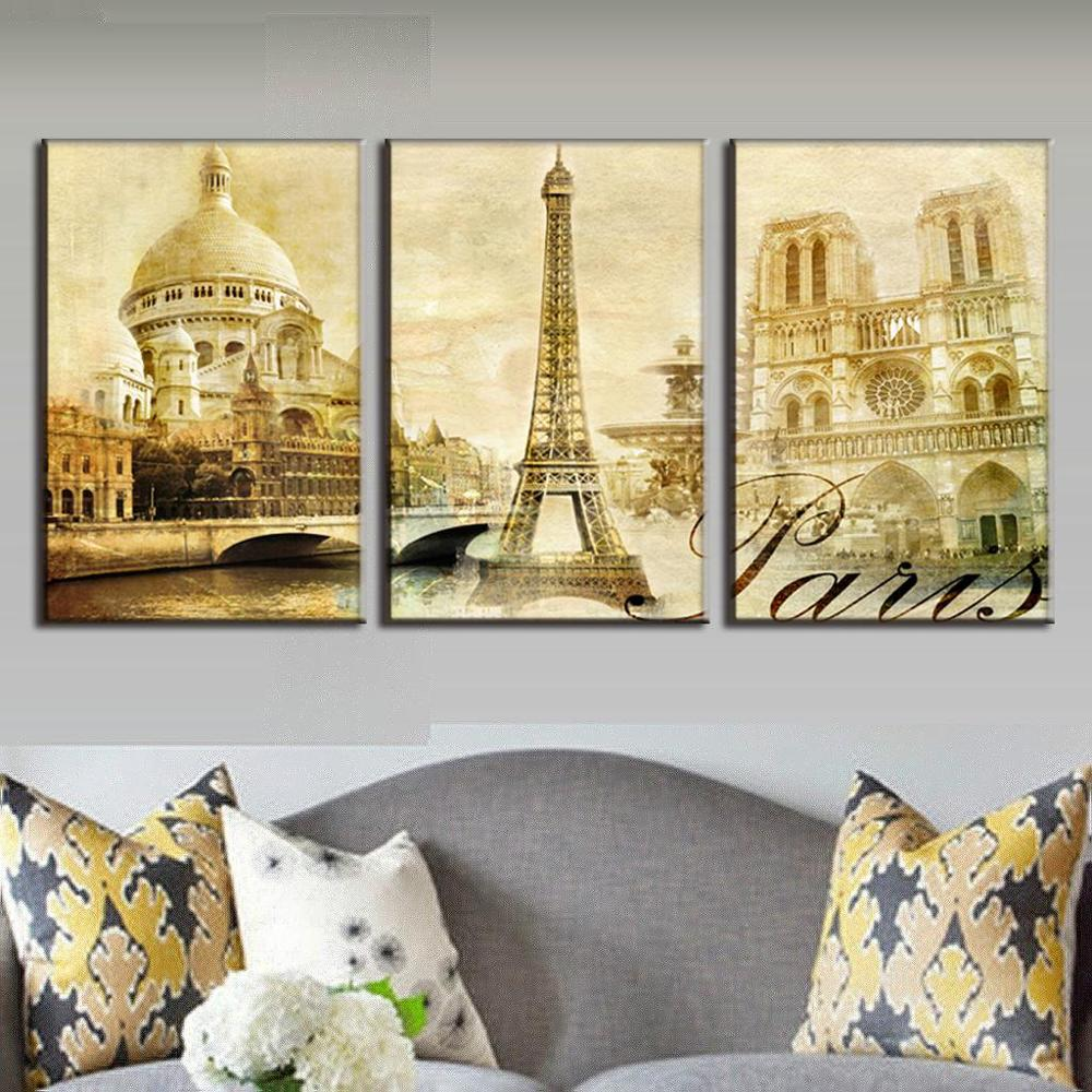 ▻3 Piece Wall Paintings Purple Hyacinth Art Decorative Pictures ...