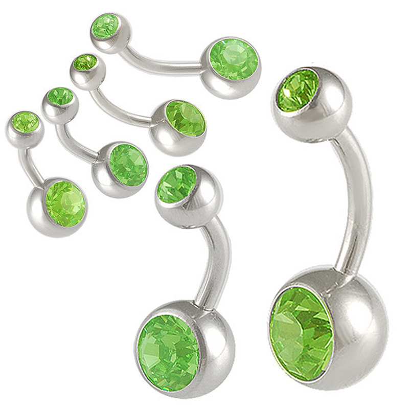 Free shipp Wholesale green crystals 14g Double Gem Body Piercing Jewelry Press Fit Navel Button Ring Belly Ring