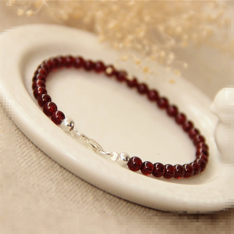 Natural Stone AAA Red Garnet 3-4mm Beads 925 sterling silver Fashion Bracelet