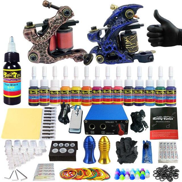 Solong Татуировки 2 Pro Пулеметы Татуировки Kit Питания Иглы Захваты 14 Цвет Чернил Набор Для Макияжа TK203-5
