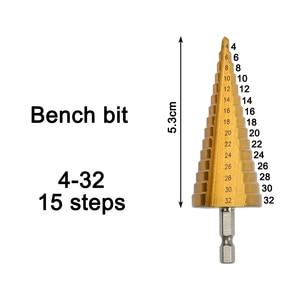 Image 2 - Hss 4241 de 4 20 4 32mm para o metal de madeira de aço da chapa metálica com caixa de alumínio hss titânio hex cortador de furo de broca de cone de passo 3 12 4 12