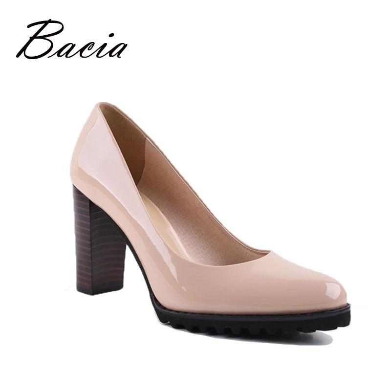 Bacia Cuadrados bombas de Tacón Zapatos de Cuero Genuinos De Las Mujeres de Lujo calidad Tacones Punta Redonda Slip On Zapatos de Novia Tamaño Russion VA003