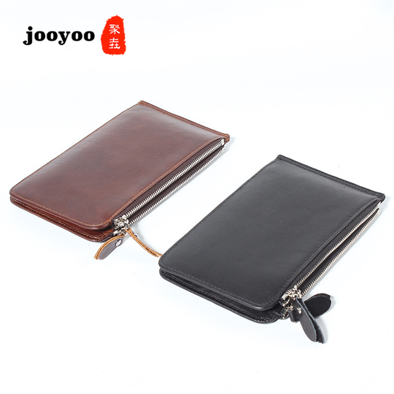 Nouveau hommes véritable cuir carte tête couche peau de vache 20 cartes Premium portefeuille banque carte sac Zipper sac sacs à main porte-carte