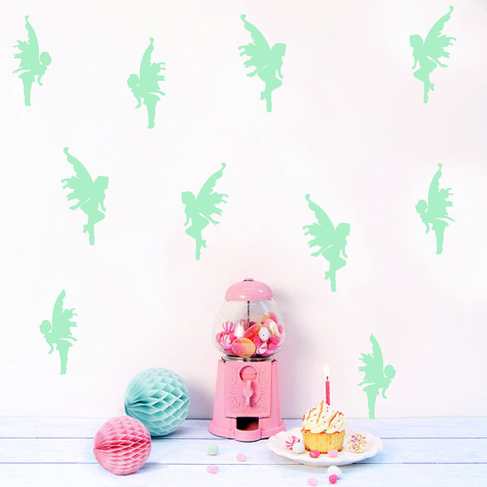 Glow In The Dark Nordic Style Flower Elves Shining Wall Stickers For Kid`s Room Livingroom And Dining Hall Eco-friendly Decor