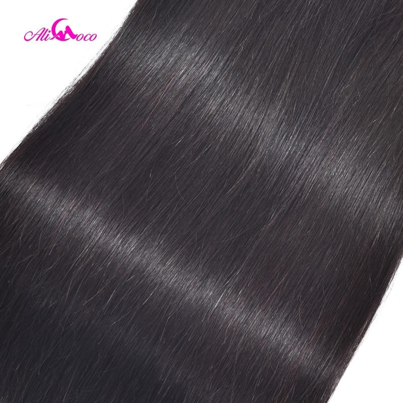 Ali Coco Gerade Haar Bundles Mit Verschluss Brasilianische Haarwebart - Menschenhaar (für Schwarz) - Foto 5