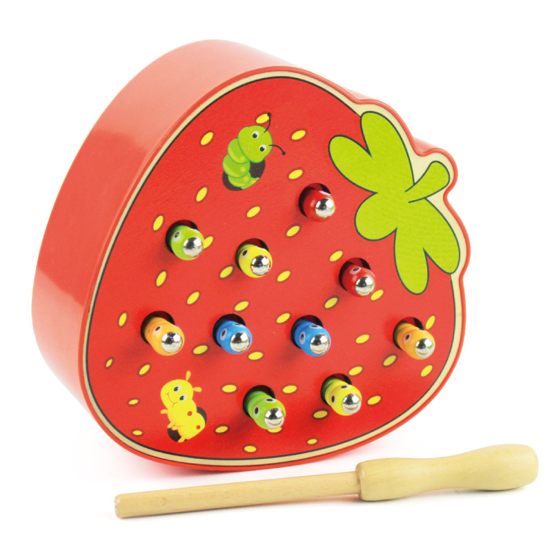 Funny Childhood Educational Toy Strawberry Catch Worm Game Color Cognitive Magnetic 3D Puzzle Baby Grasping Ability Wooden Toys