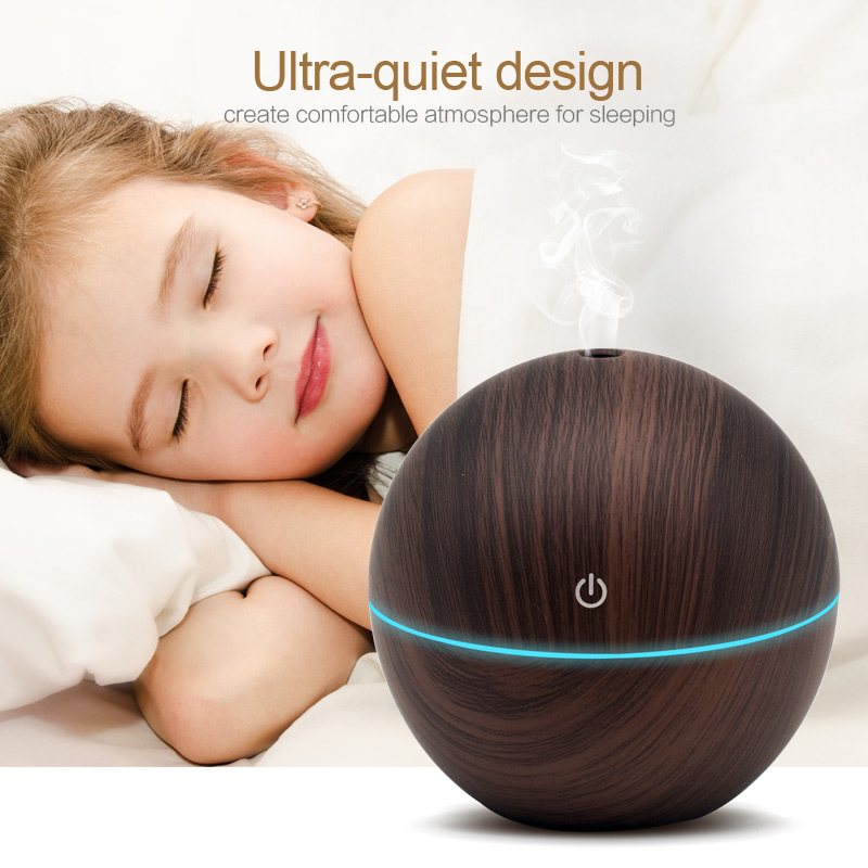 130ML Sphere Pattern Air Humidifier With Wood Grain Colors USB Charging Aroma Essential Oil Diffuser With 7 Colors Changing Night Light
