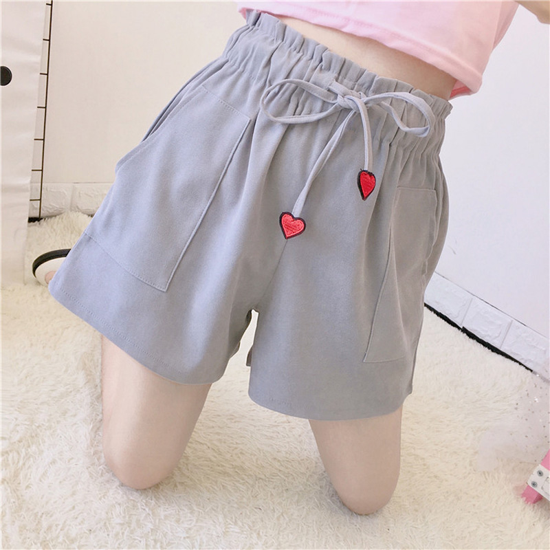 2018 Japanese Autumn Harajuku   short   New heart embroidery ulzzang women's elastic high waist wild loose kawaii   shorts   female