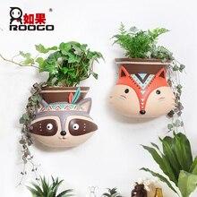 ROOGO Hydroponic flower pot animal cartoon wall hanger decoration hanging plant pots desktop balcony succulent bonsai planter