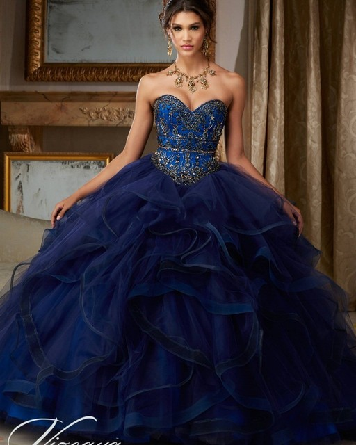 Puffy Princess Popular Debutante Gown Navy Blue Quinceanera Dresses 2016 Cheap Quinceanera Gowns Sweet 16 Dresses For 15 Years