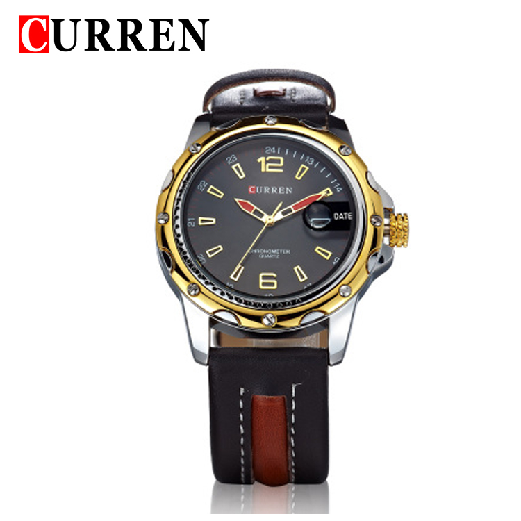 CURREN Men Sports Quartz Straps Watch Black Abaya Top Brand Military Luxury Leather Watch Auto Date Waterproof Watch 8104