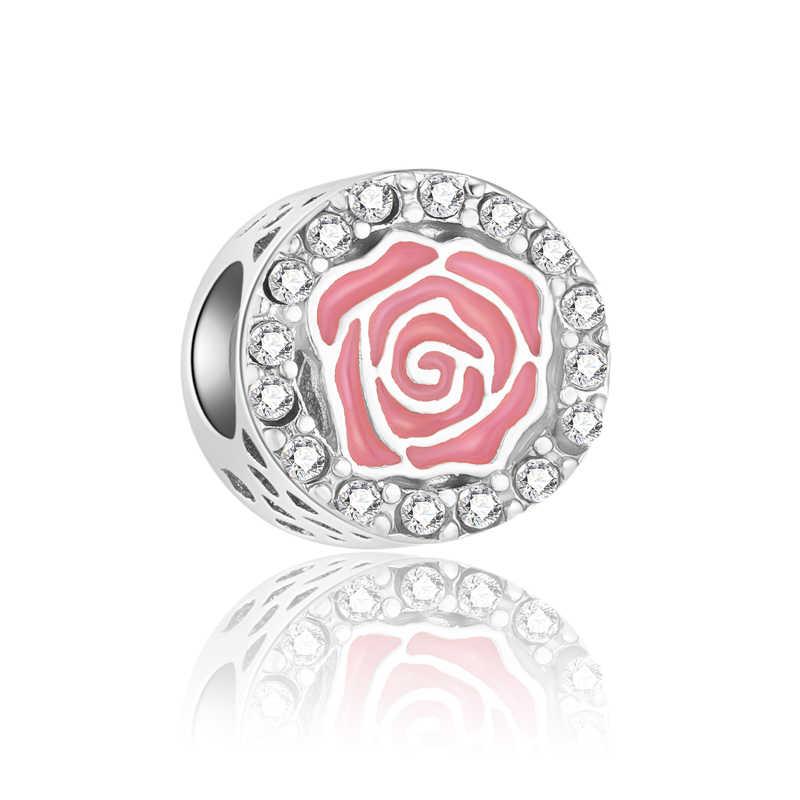 De Lujo cristal flor arco amor corazón Mickey Mouse cuentas Fit Pandora Charms pulseras para mujeres DIY joyería Bijoux regalo