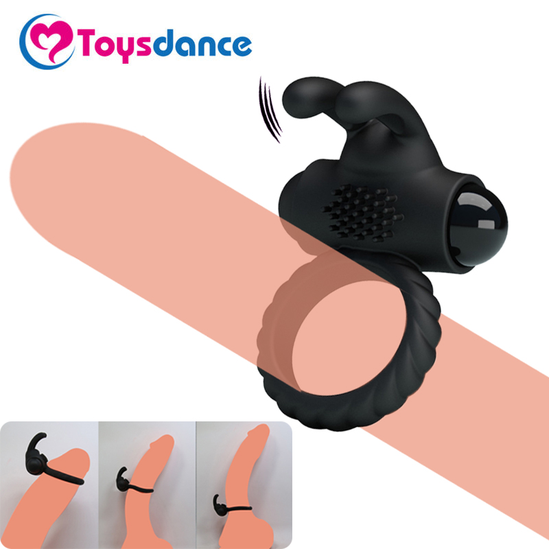 Toysdance Men's Silicone Vibrating Cock Ring Time Lasting Penis Ring Rabbit Vibrator For Couples Clitoral Stimulation Sex Toy