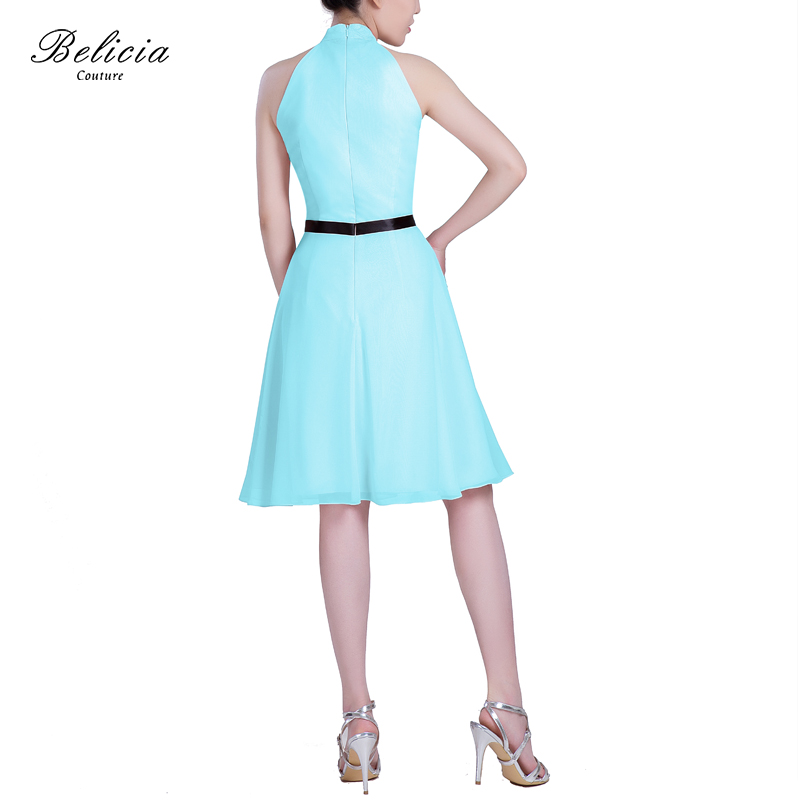 a75c0011f53 Belicia Couture Women Cocktail Dresses Chiffon Popular Sleeveless knee  length Belt Short formal Party Dress 2017-in Cocktail Dresses from Weddings    Events ...