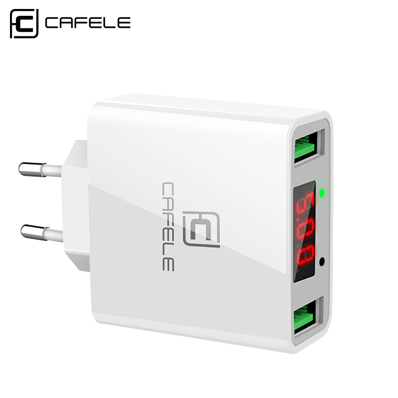 Cafele Dual USB Charger for iPhone Universal Portable USB Mobile Charger Input AC 110-240V Output DC 5V 2.4A Max universal dual female usb output car charger white