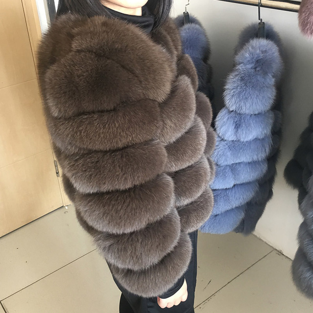 maomaokong 50CM Natural Real Fox Fur CoatWomen Winter natural fur Vest Jacket Fashion silm Outwear Real Fox Fur Vest Coat Fox 2