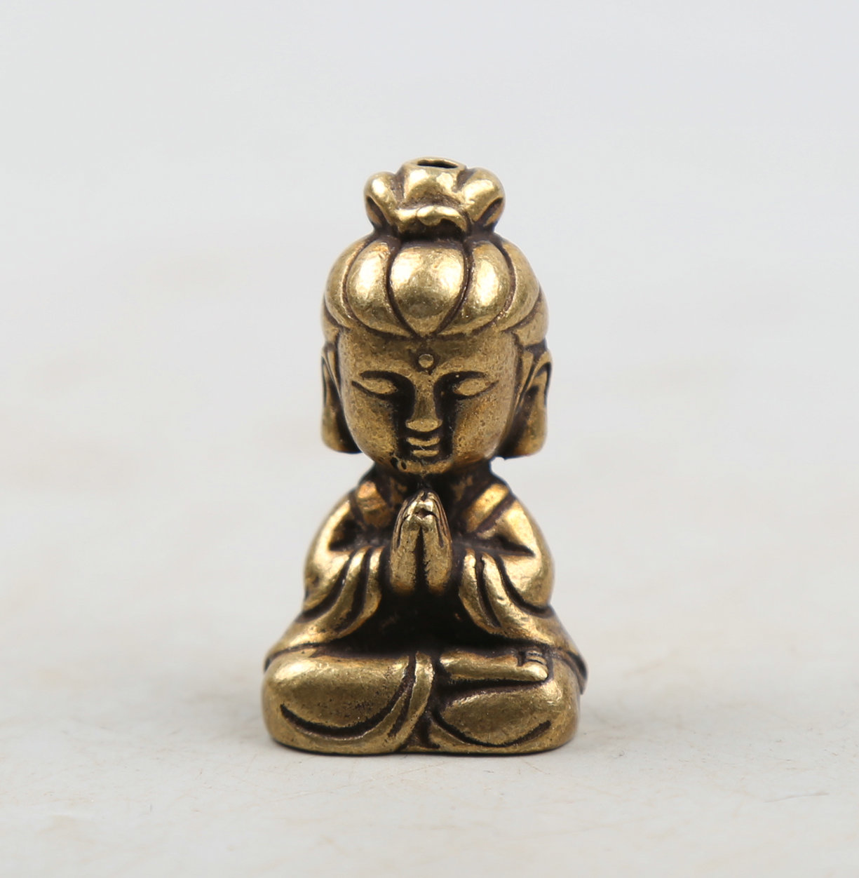 36MM 1 4 quot Collect Curio Rare Chinese Fengshui Bronze Exquisite Buddhism Cartoon Sit Guanyin Mini Kwan yin Pendant Statuary 42g in Statues amp Sculptures from Home amp Garden