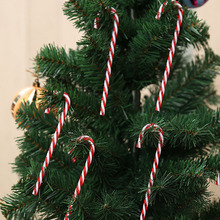 12pcs Plastic Candy Cane Christmas Tree Hanging Ornaments Xmas navidad Home Party Decorations