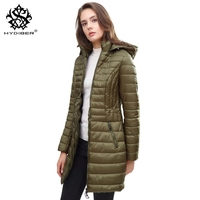 Hydiber 2018 Fashion New Ladies Winter Slim Parka For Women Hooded Army Green Long Sleeve Outwear