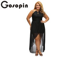 Gosopin 2017 Special Occasion Dresses Sexy Party Gown Stylish Black Lace Plus Size High Low Dress