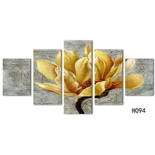 Modern Poster HD Printed Wall Art Decor For Living Room Pictures 5 Pieces Beautiful Gold Orchid Flower Painting On Canvas