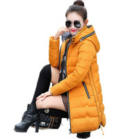 New Wadded Winter Jacket Women Cotton Long Jacket Fashion 2017 Girls Padded Slim Plus Size Hooded Parkas Stand Collar Coat C423
