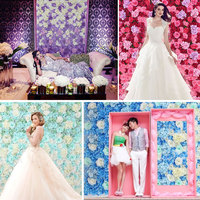 DIY Wedding Flower Wall And Ros Silk Artificial Rose Hydrangea Peony Mix Flowers Background Hotel Decoration