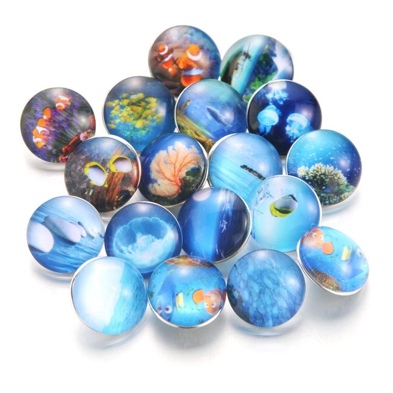 10 шт./лот, смешанные цвета и узор, 18 мм, стеклянные кнопки, ювелирное изделие, граненое стекло, оснастка, подходят, оснастки, серьги, браслет, ювелирное изделие - Окраска металла: 020910