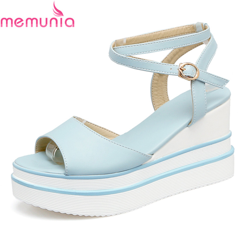 MEMUNIA new arrive women summer wedges shoes simple buckle lady sandals fashion platform high heels shoes  comfortable 100% new and original xgf pd1h ls lg plc special module positioning module