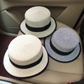 2016 New Arrival Summer Korean Straw Hat Formal Hat Women Bow Seaside Sandy Beach Hat Flat Roof Sun Hat