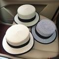 2016 Nueva Llegada Del Verano de Corea Del Sombrero de Paja Sombrero Formal de Las Mujeres se Inclinan Seaside Sandy Beach Sombrero Cubierta Plana Sombrero para el Sol