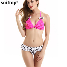 suittop Ruffle Women Bikini Set Swimwear Print Star Brazilian Bottom Bikini 2017 Flounced Halter Swimsuit Strappy Bathing Suits