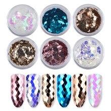 6Pcs/set Holo Diamond Sparkling Nail Sequins Glitters Set  Rhombus 3d Dazzling Charm