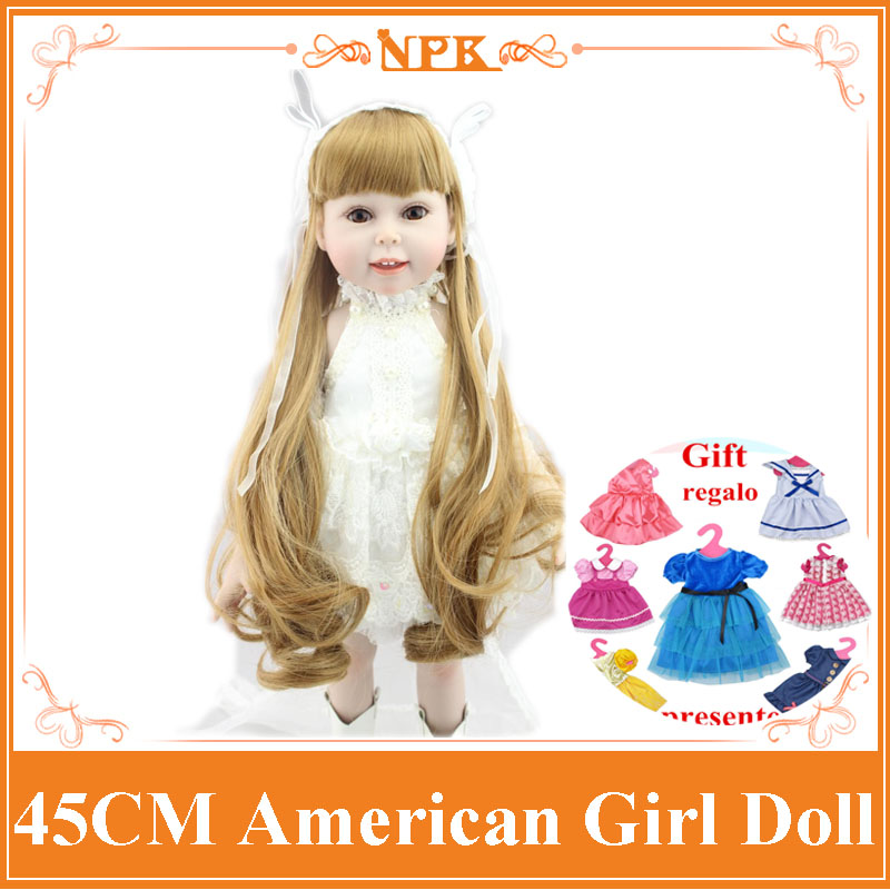 In White Wedding Dress 18inch NPK American Sweet Girl Doll With Long Curly Hair Bonecas Bebe The Best New Year Gift Brinquedos new arrival 18inch doll npk american sweet girl with curly long hair in floral skirt dress bonecas bebe kids gift brinquedos
