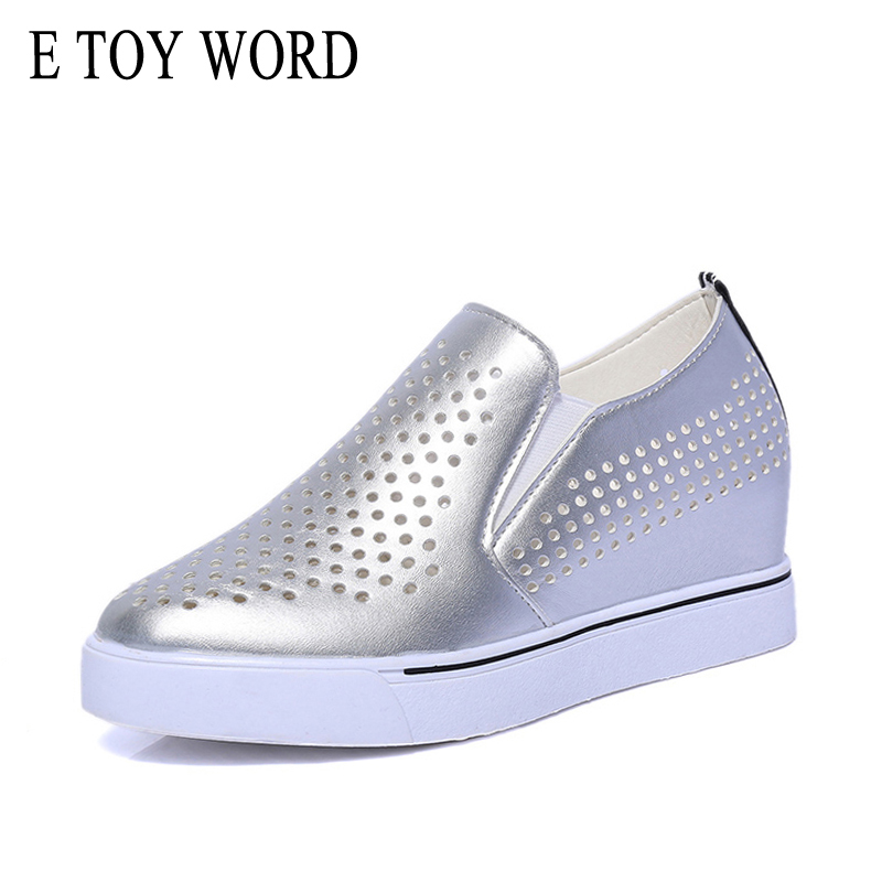 E TOY WORD Summer Platform Shoes Women Casual Hollow-out Breathable flats loafers All-match Height Increasing Small White Shoes summer breathable hollow casual shoes women slip on platform flats shoes fashion revit height increasing women shoes h498 35