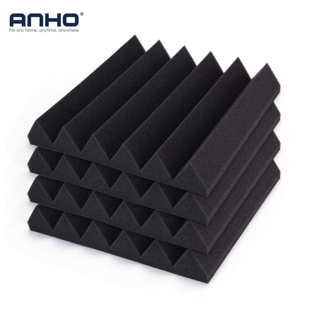 12PCS Acoustic Soundproof Foam Wall Sticker Sound Stop Absorption Foam For KTV Audio Room Studio Room Bedroom Black 30x30x5cm