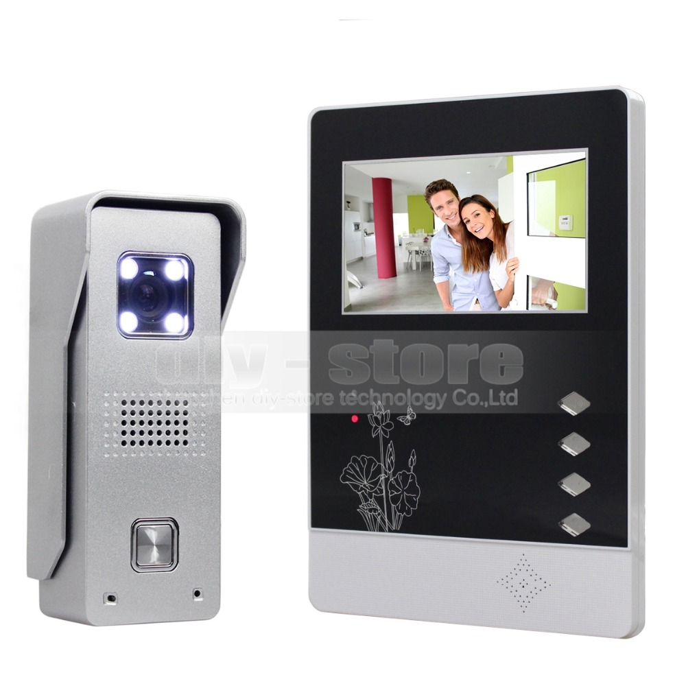 DIYSEUCR 4.3 inch TFT Color LCD Display Aluminum Alloy CCD Camera Video Door Phone Intercom Doorbell LED Color Night Vision 7 inch video doorbell tft lcd hd screen wired video doorphone for villa one monitor with one metal outdoor unit night vision