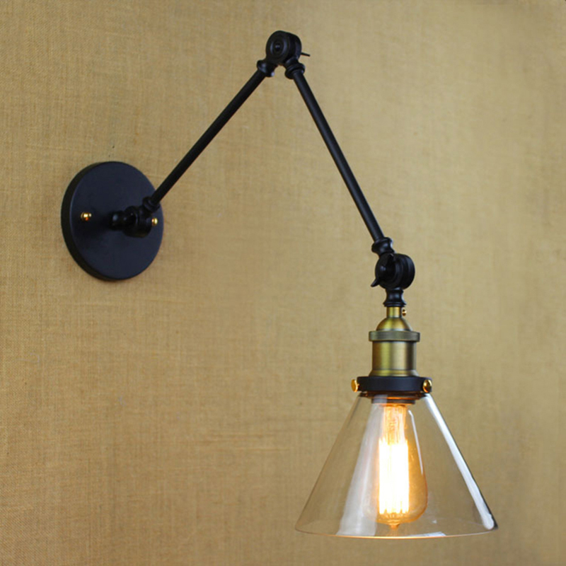arms vintage Wall lamp brass LOFT industrial wall sconce light Long knobs Iron flexible bar Cafe Aisle Hall Project wall Lamps loft vintage edison glass light ceiling lamp cafe dining bar club aisle t300