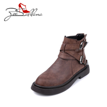 Zoe Saldana 2017 PU Leather Platform Martin Boots Women Shoes High Heels Metal Decoration Ankle Boots