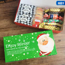 1Pcs 24cm*12cm Pink Red Cookie Package Merry Christmas Santa Decor Gift Box Party Wedding Gifts For Kids Cardboard Box Candy Bag(China)