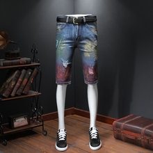 Shorts Denim Men Biker Jeans Shorts Knee Length Men's Skinny Jeans Hombre Graffiti Printed Pants Festa Junia Summer New 2019 graffiti print side skinny jeans